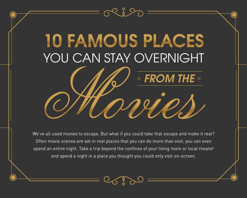 Take a trip beyond the confines of your living room or local theater and spend a night in famous places you thought you could only visit on screen.